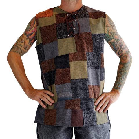 'Freeman' Medieval Shirt, Sleeveless - Patchwork