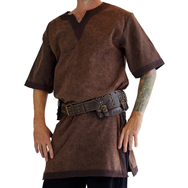 'Viking Shirt Short Sleeves' Tunic - Stone Brown - zootzu