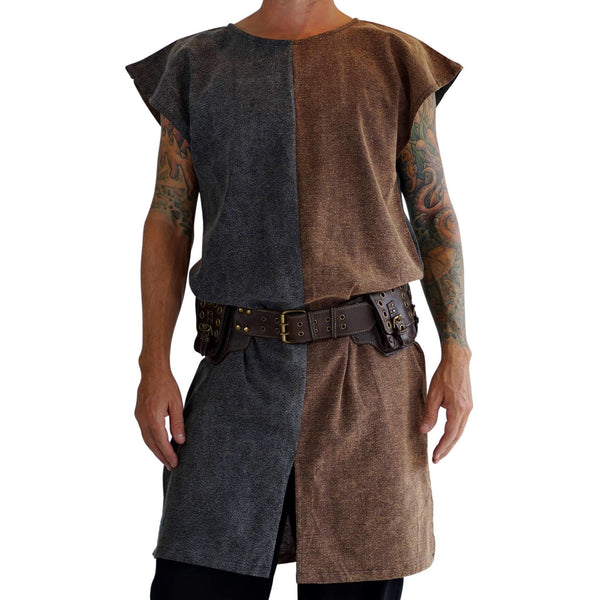 'Long Viking Tunic' - Two Tone Brown/Gray - zootzu