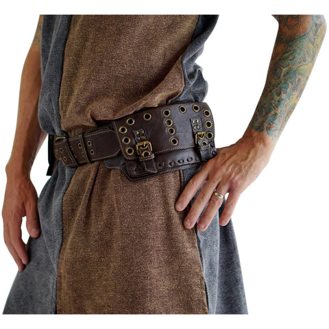 'Grommets' - Medieval Pouch - Brown