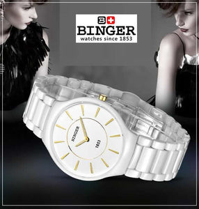 BINGER Swiss Womens' Ceramic Quartz Wrist Watch 8006