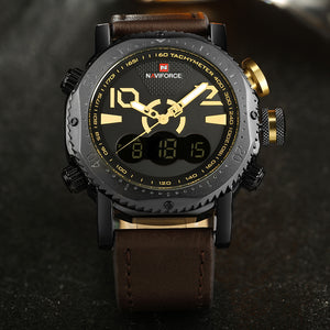 NAVIFORCE Mens' Military Watch with Leather strap N9094-1
