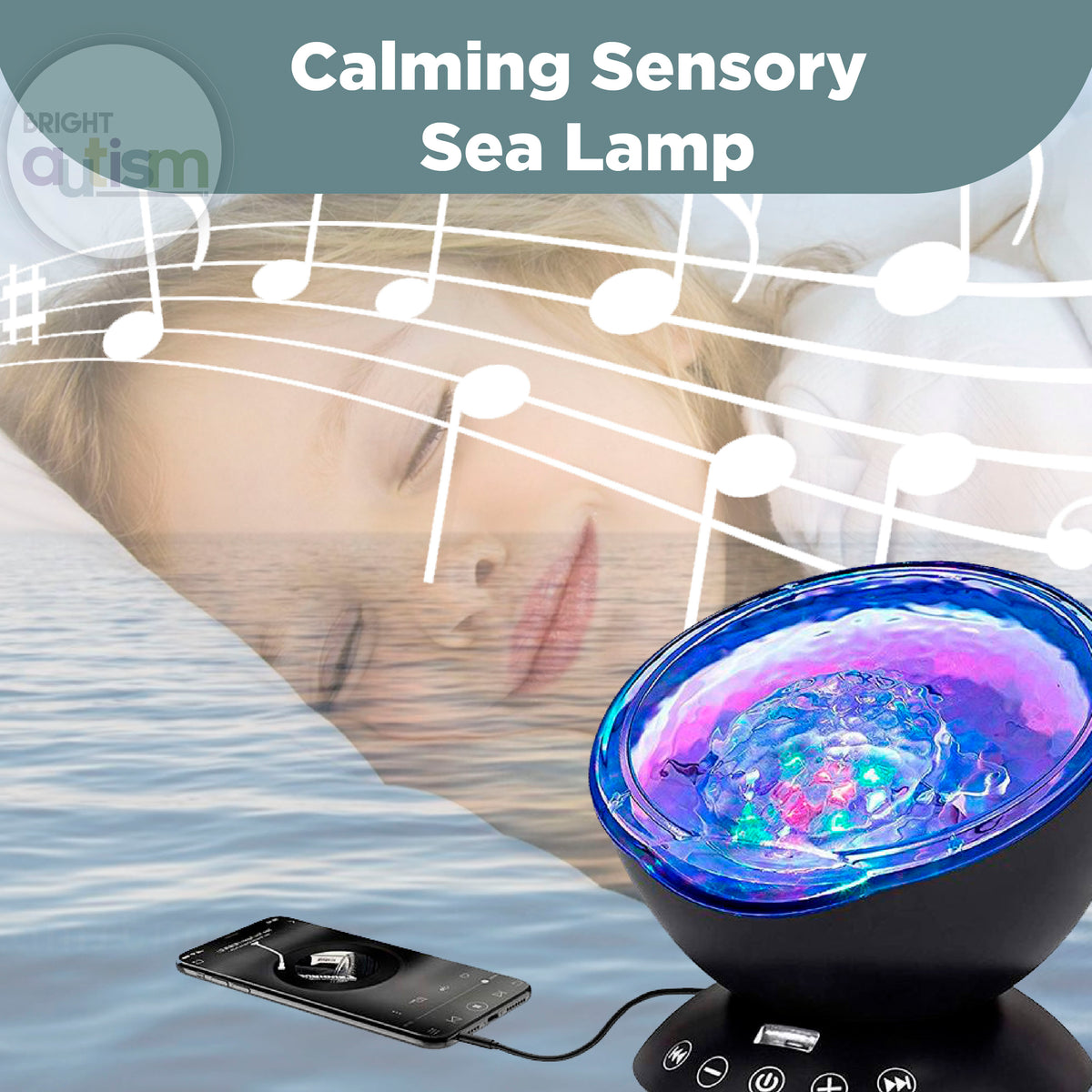 A baby sleeping with Calming Sensory Sea Lamp