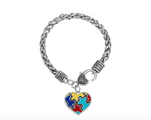 Autism Awareness Heart Bracelet