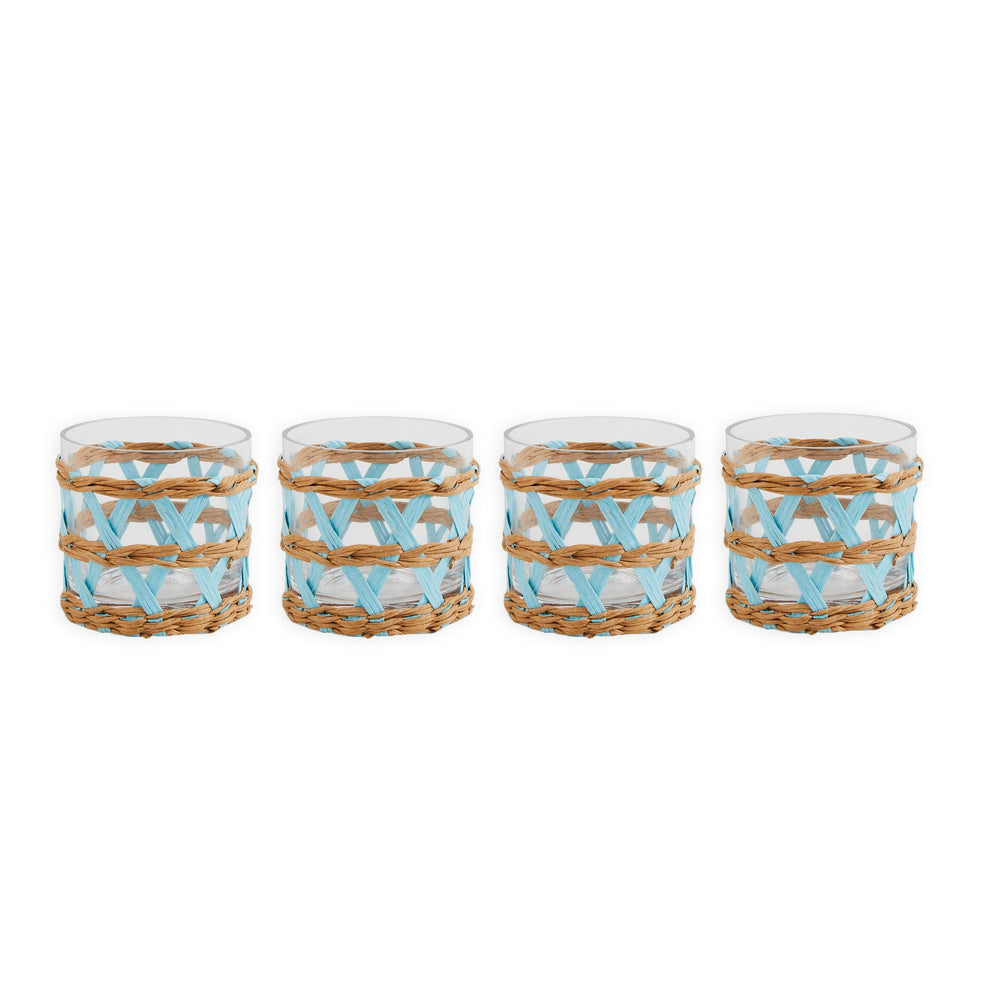 island wrapped votives light blue, set of 4