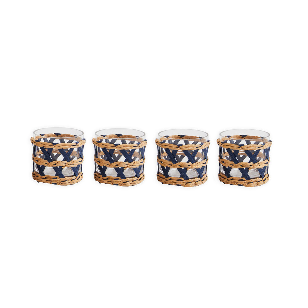 island wrapped votives navy, set of 4