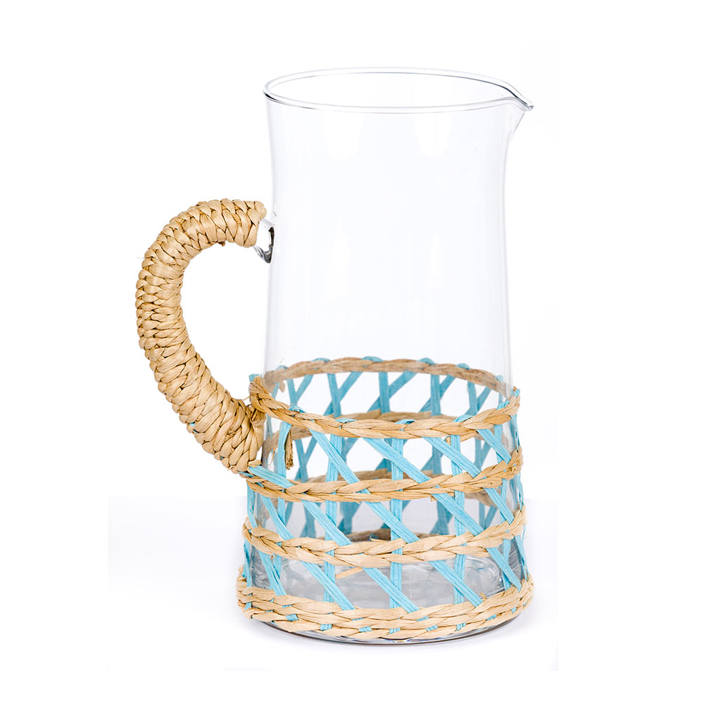 Island Wrapped Pitcher Large Light Blue