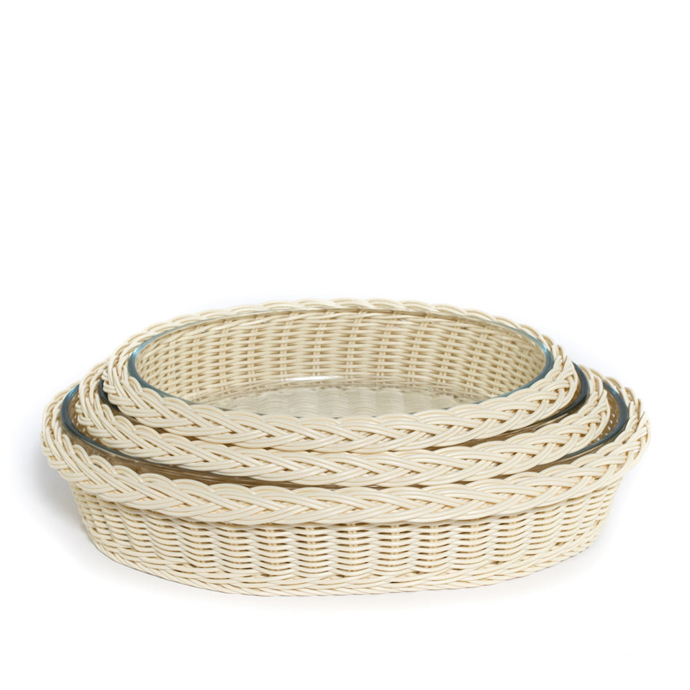 faux rattan glass serveware, large oval