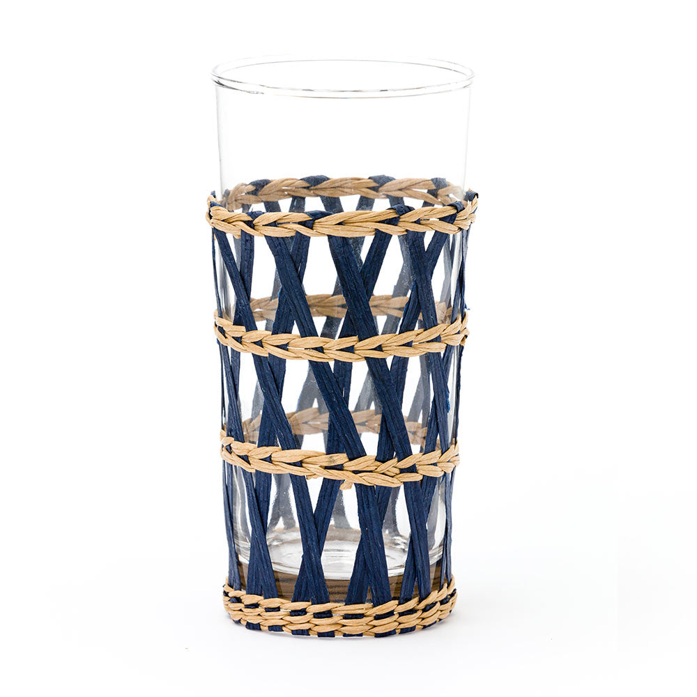 Island Wrapped Ice Tea Navy, Set of 4