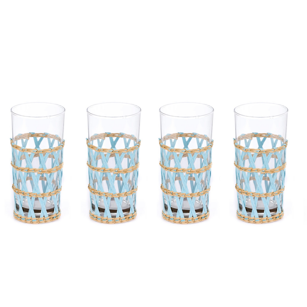 light blue island wrapped ice tea glass (set of 4)