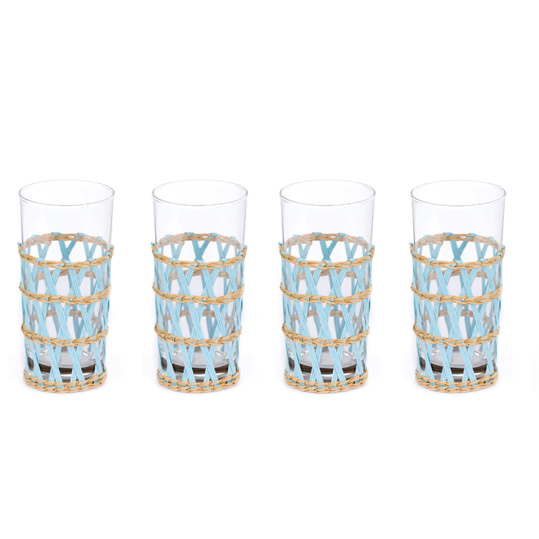 Island Wrapped Ice Tea Light Blue, Set of 4