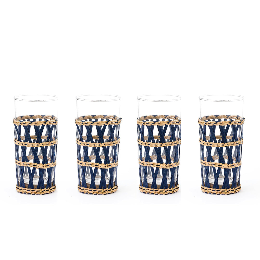 navy island wrapped ice tea glass (set of 4)