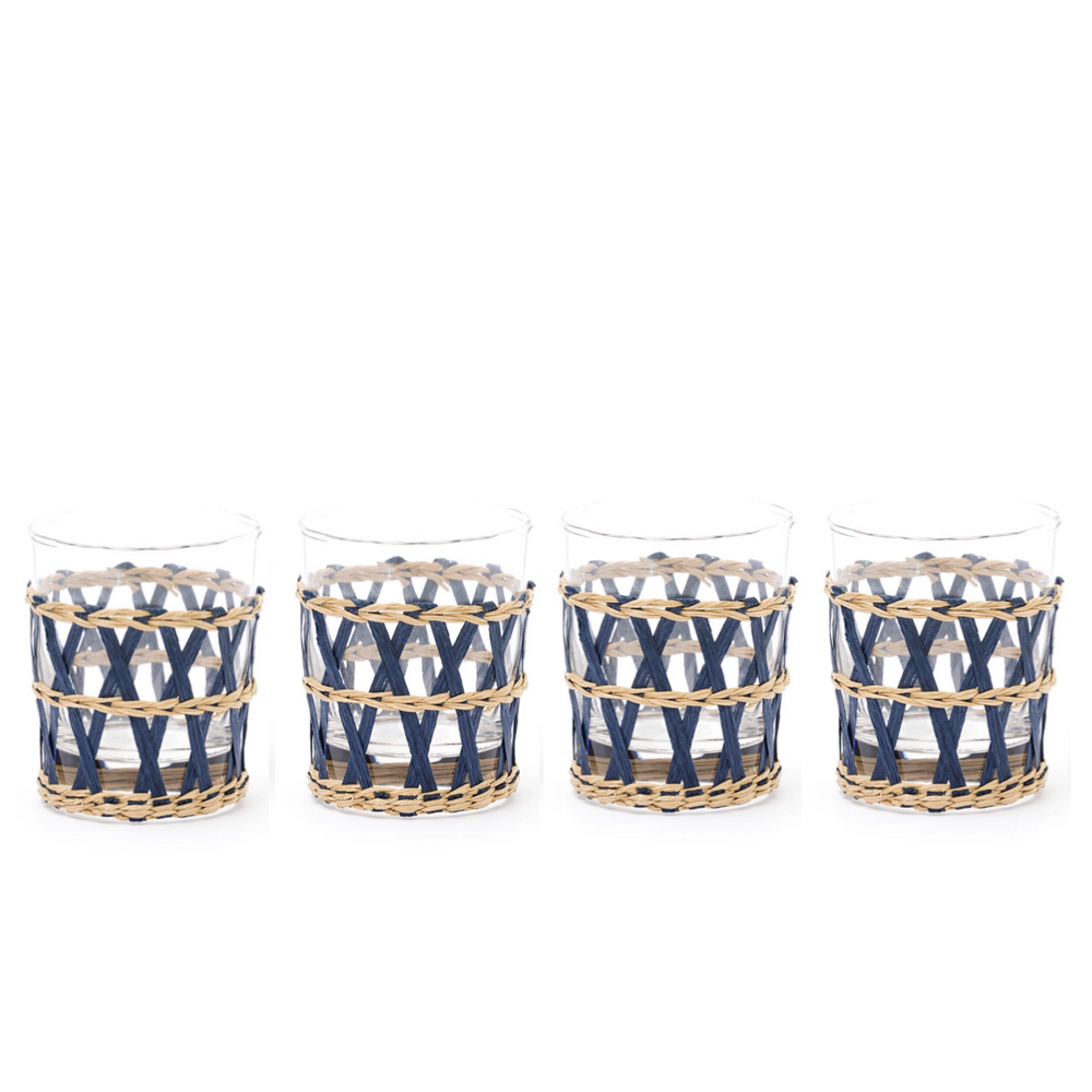 navy island wrapped tumbler navy (set of 4)