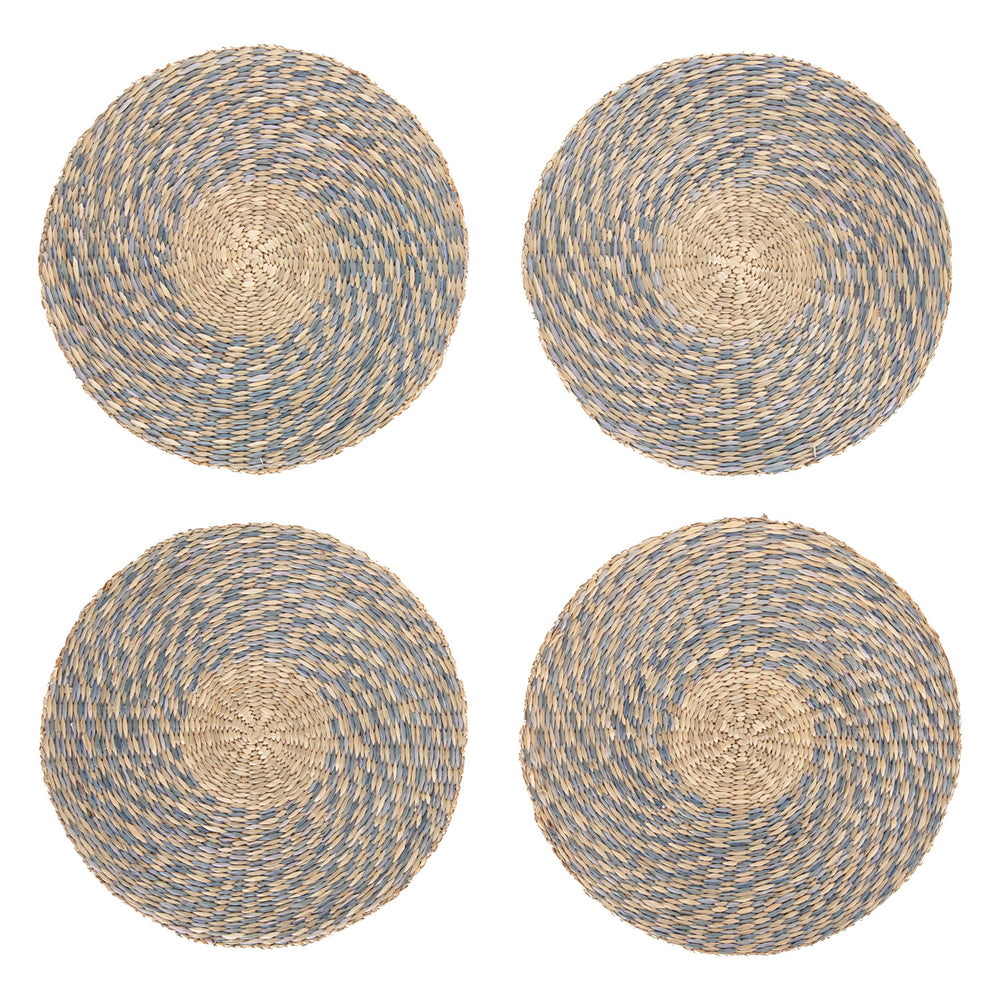 spiral woven placemats in blue