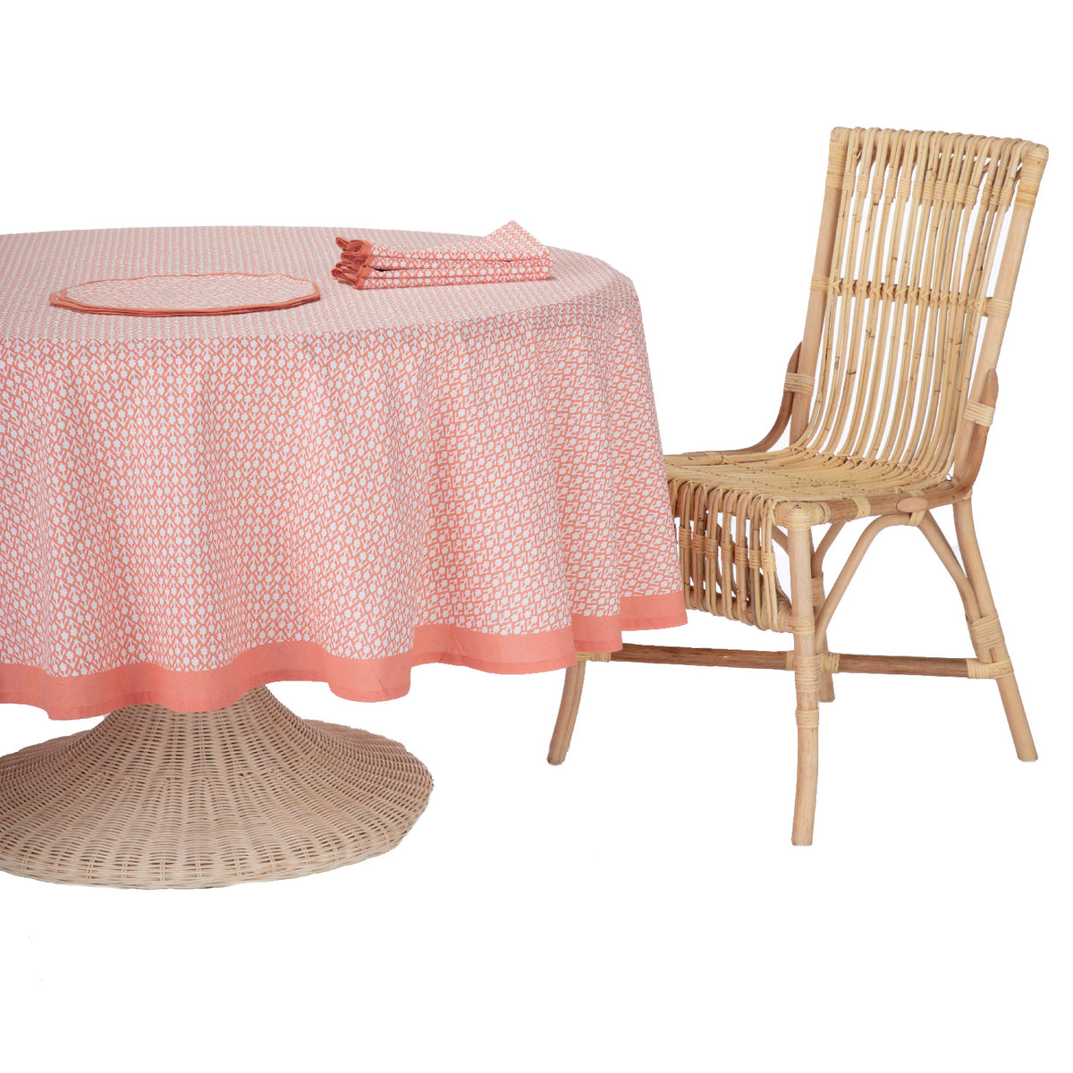 Floral Round Tablecloth Coral