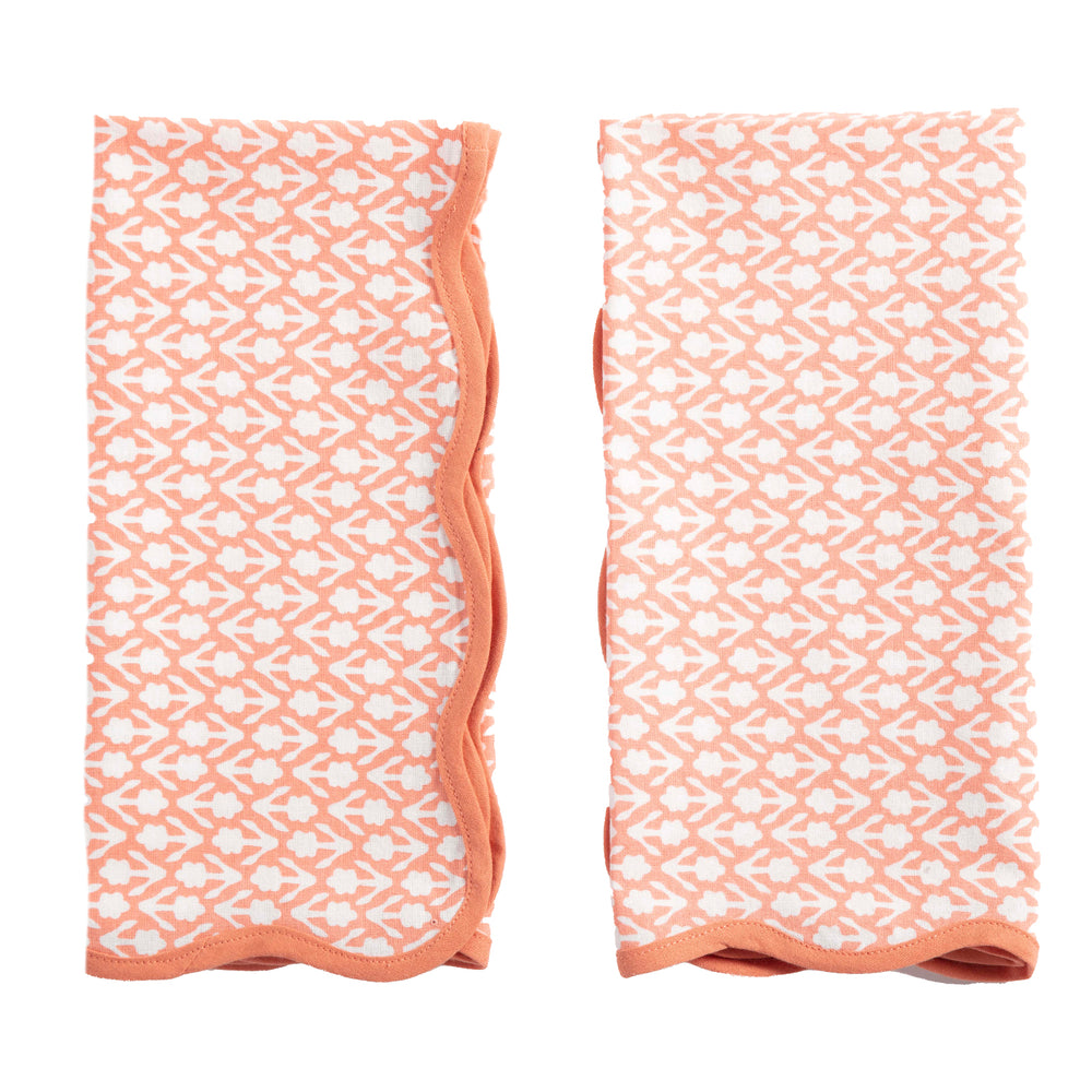 floral napkins coral, set of 4