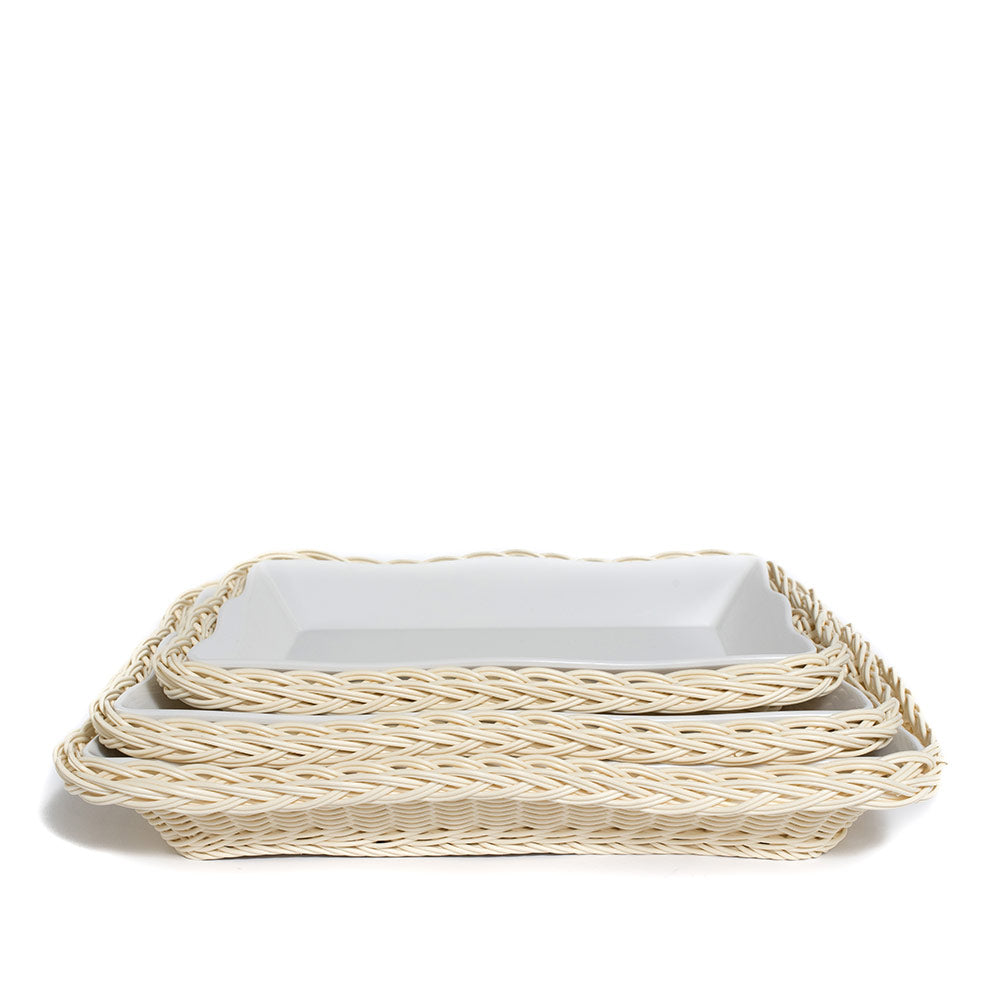 Scalloped Rectangle Serving Dish with Faux Rattan Melamine