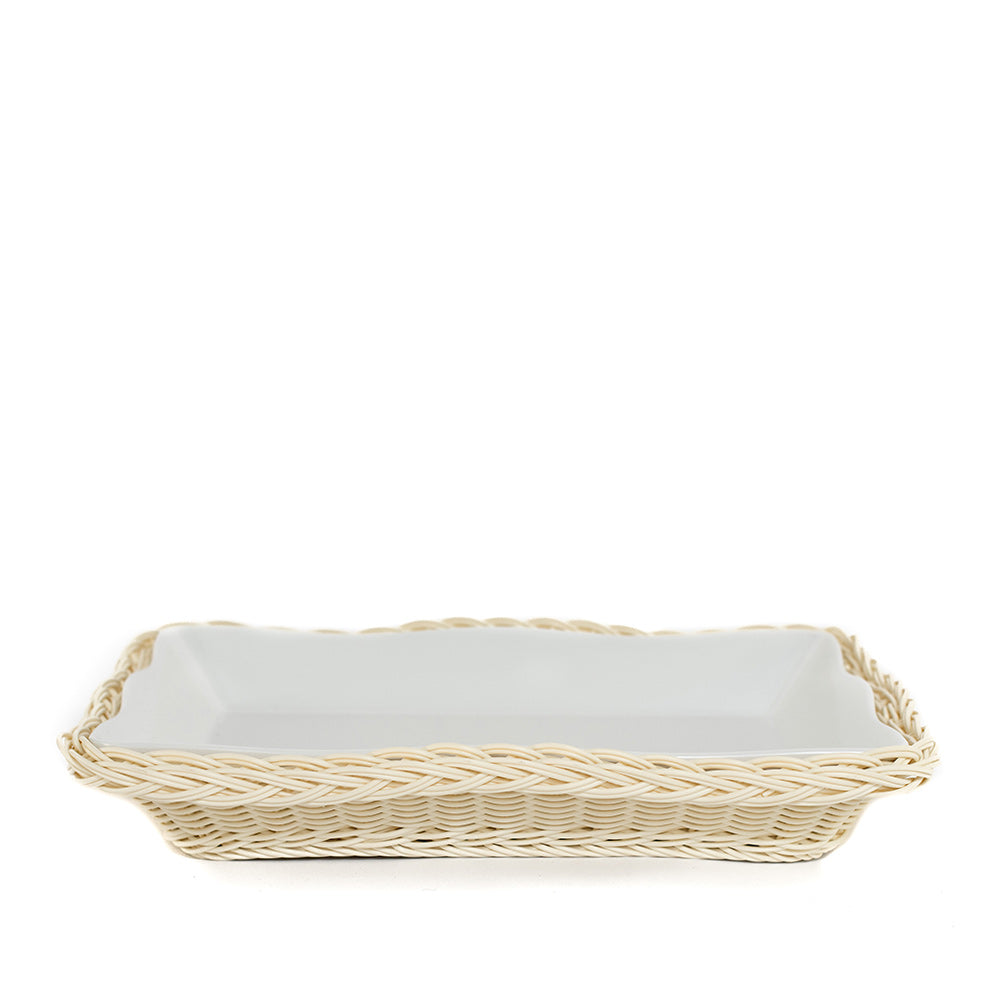 Scalloped Rect. Faux Rattan Melamine