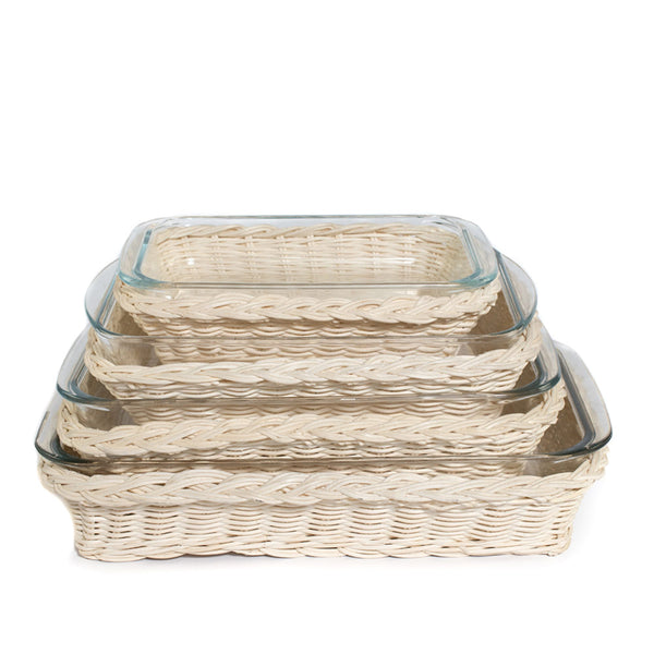 Rectangular Glass Dish in Rattan