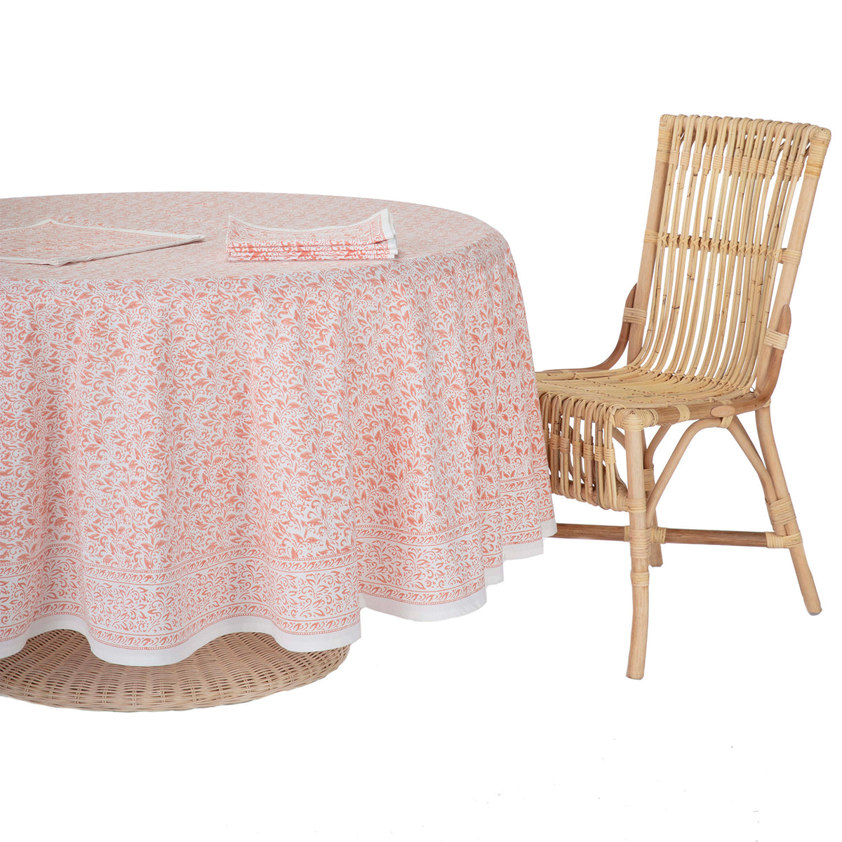 Nira Round Tablecloth Coral