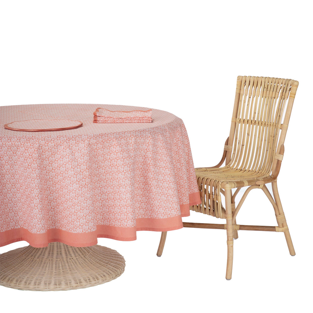 peacock round tablecloth coral