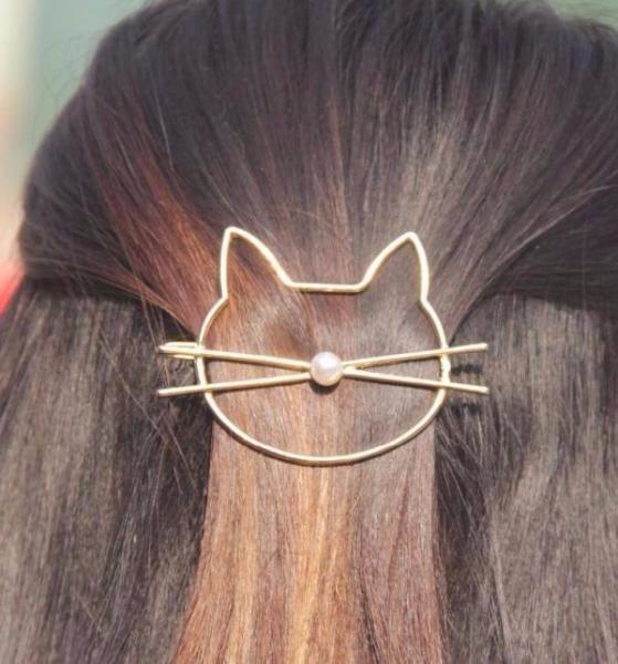CUTE CAT PEARL HAIR PIN