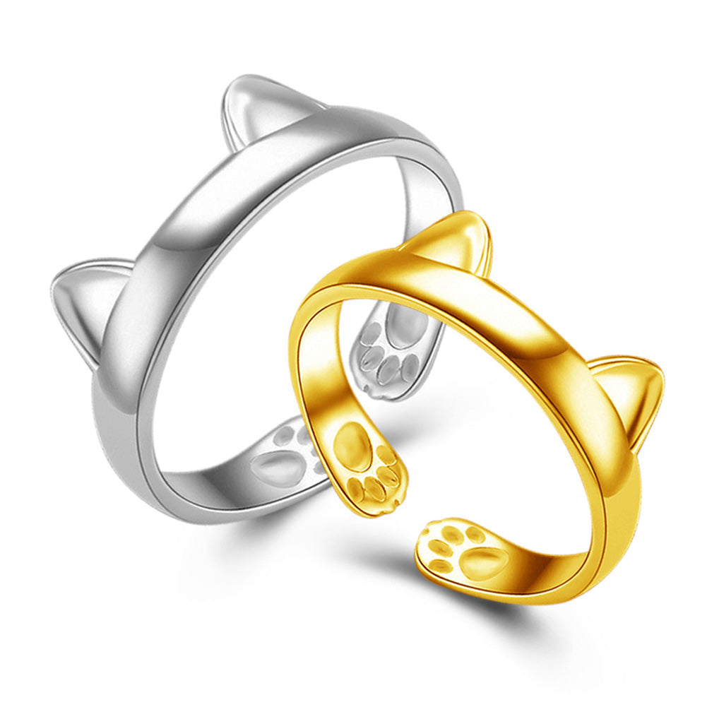 ring gold women catscoolstuff cat gift the finger plated on products adjustable animal sitting rings sterling moon and silver