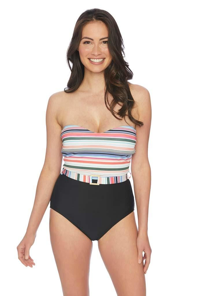 Color Coded Belted Bandeau One Piece