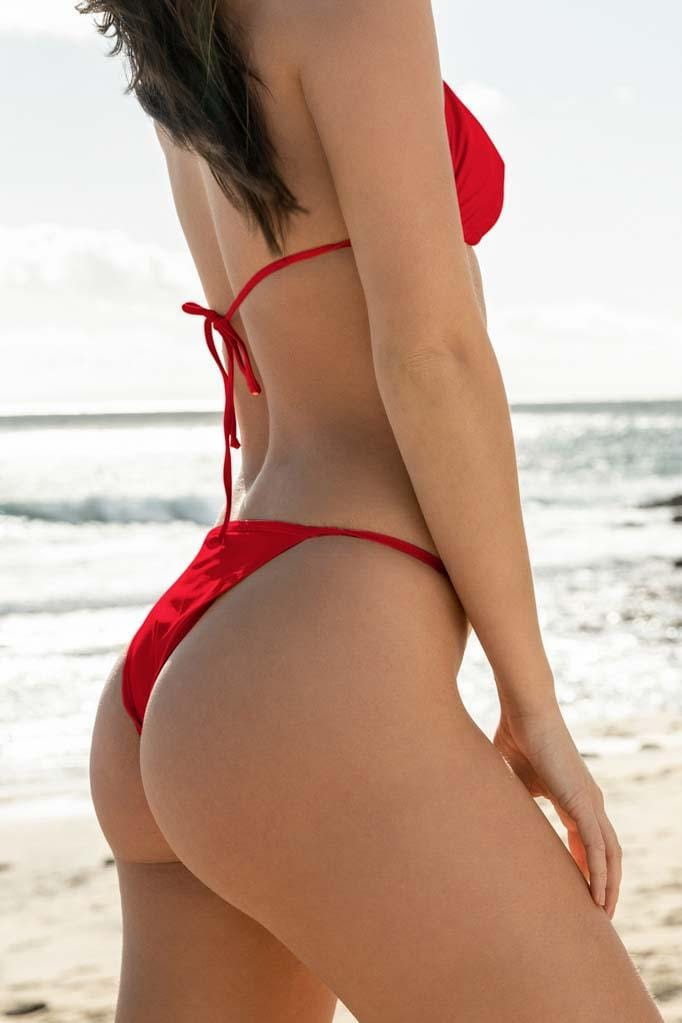 Solids Cheeky Strap Bikini Bottom