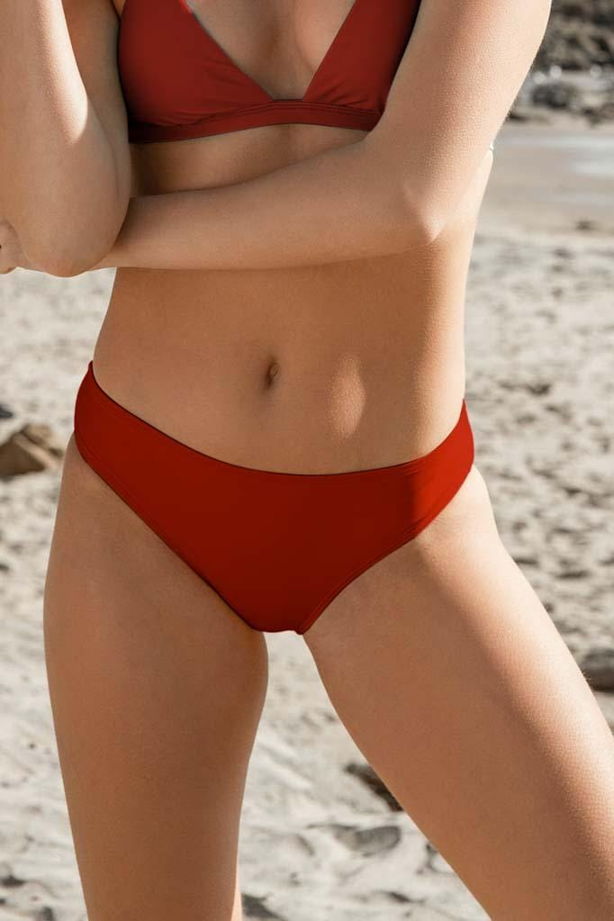 Solids Moderate Coverage Ruched Retro Bikini Bottom