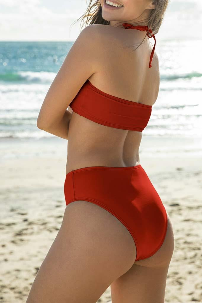 Solids High Waist High Leg Bikini Bottom