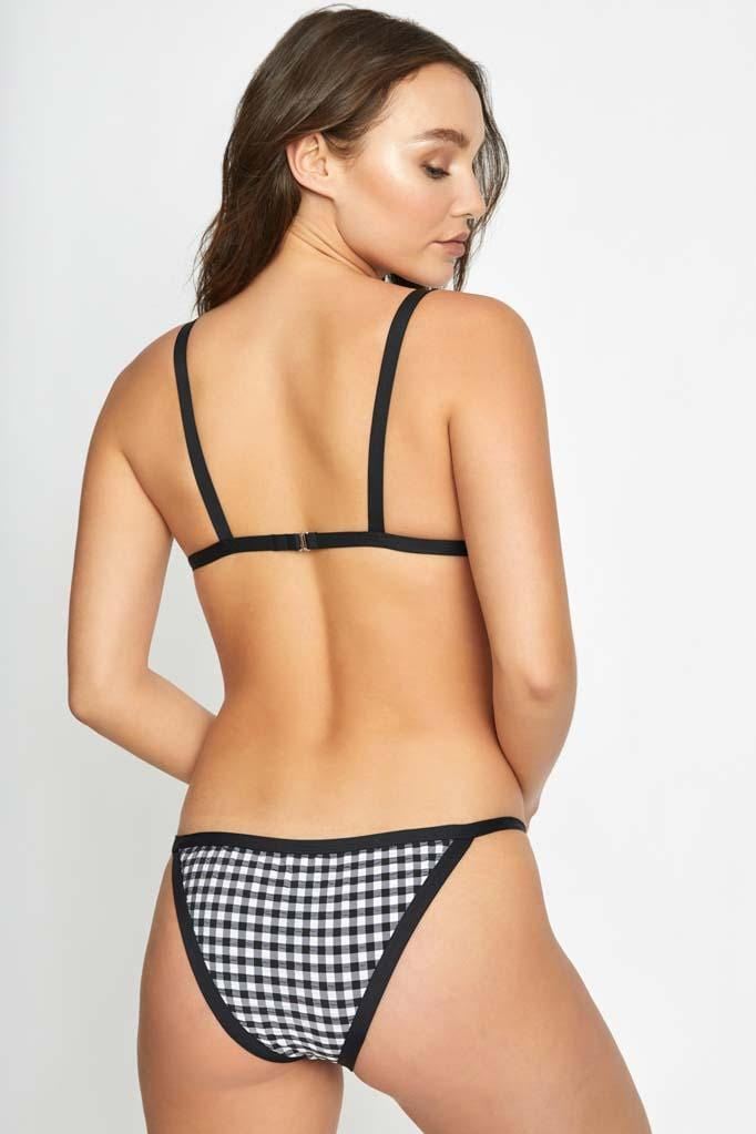 Gingham Fixed Triangle Top & Strap Bottom Set