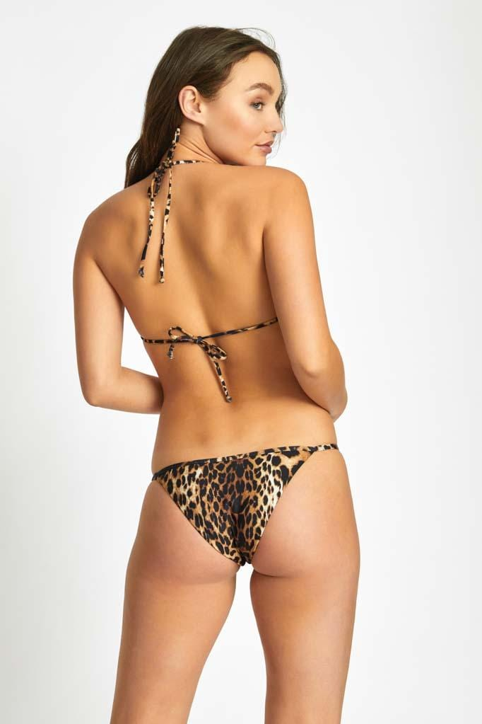 Leopard Triangle Bikini Top & String Bottom Set