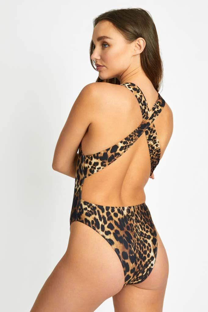 Leopard Straight Neck Maillot