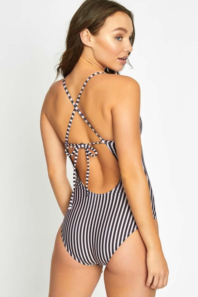 Stripe Strappy Back One Piece Set