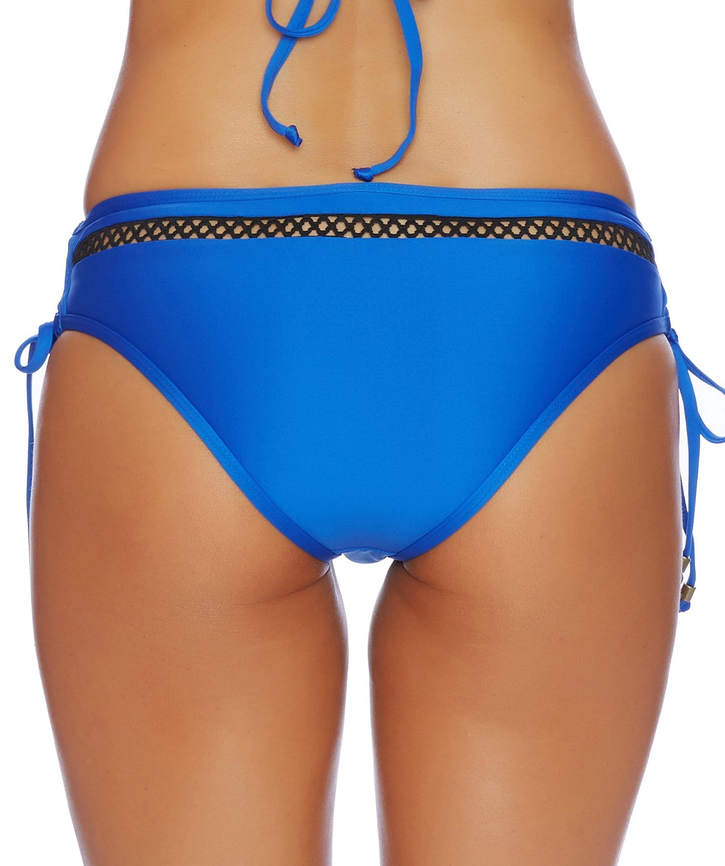 Juliet Solids Lace Up Mid-Rise Bikini Bottom