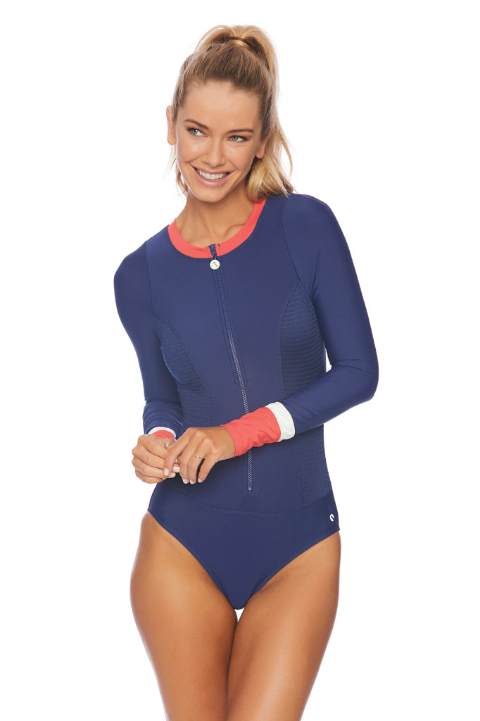 Coral Reef Long Sleeve Malibu Zip One Piece