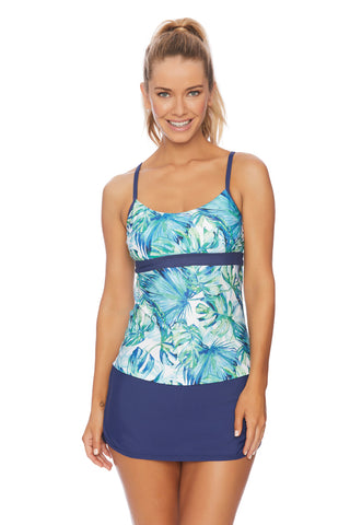 Macramé Blue Blouson Bandeau Tankini Top & High Waist Bottom Set