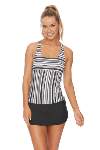 Solids Tankini Top with Beaded Detail