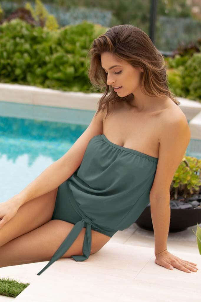 Solids Blouson Bandini & High Waist Bikini Bottom Set