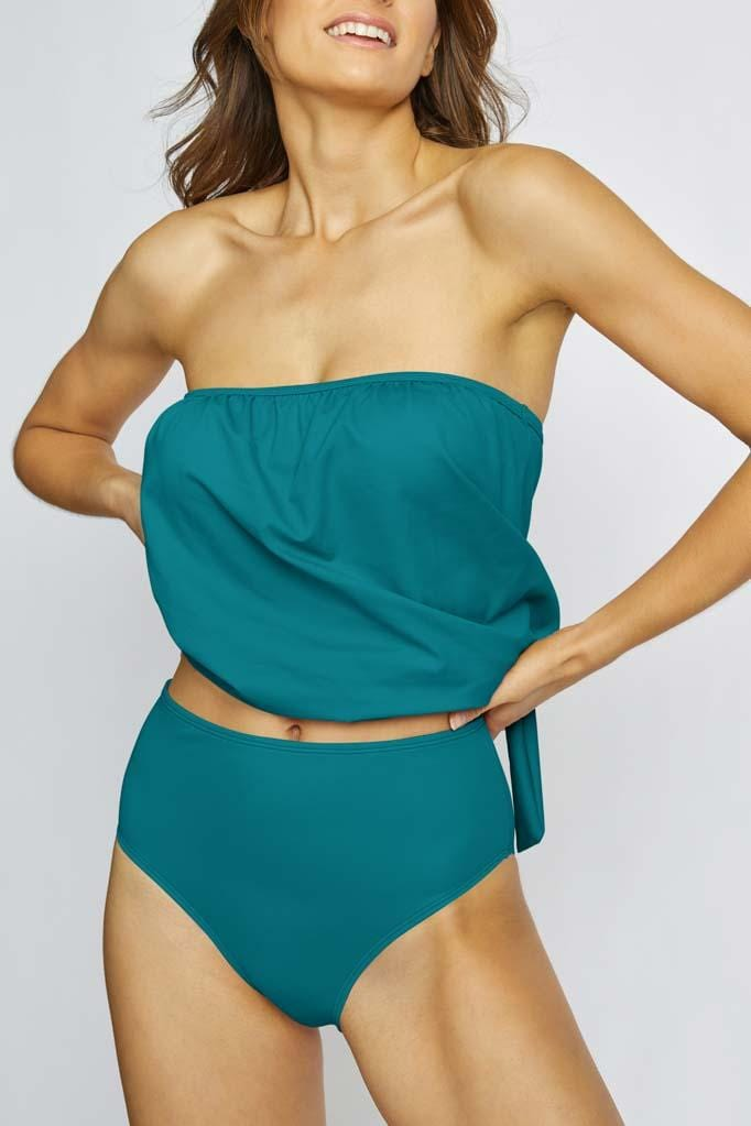 Solids Blouson Bandini & High Waist Bottom Set