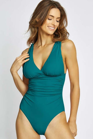 Samba Solids Twist Front One Piece Swimsuit
