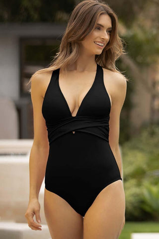 Samba Solids High Neck One Piece With Mesh Insets