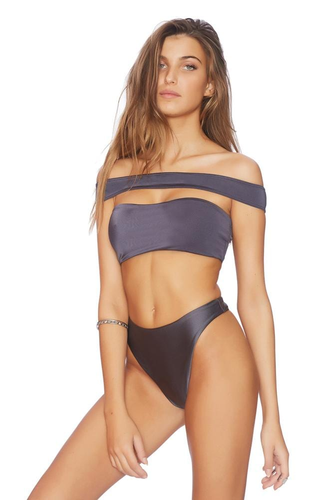 Cold As Ice No Chance Illusion Cold Shoulder Crop Bikini Top