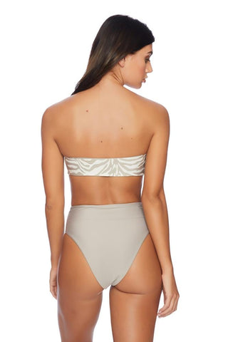 Baroque N Roll Bandeau Bikini Top & High Waist Bottom Set