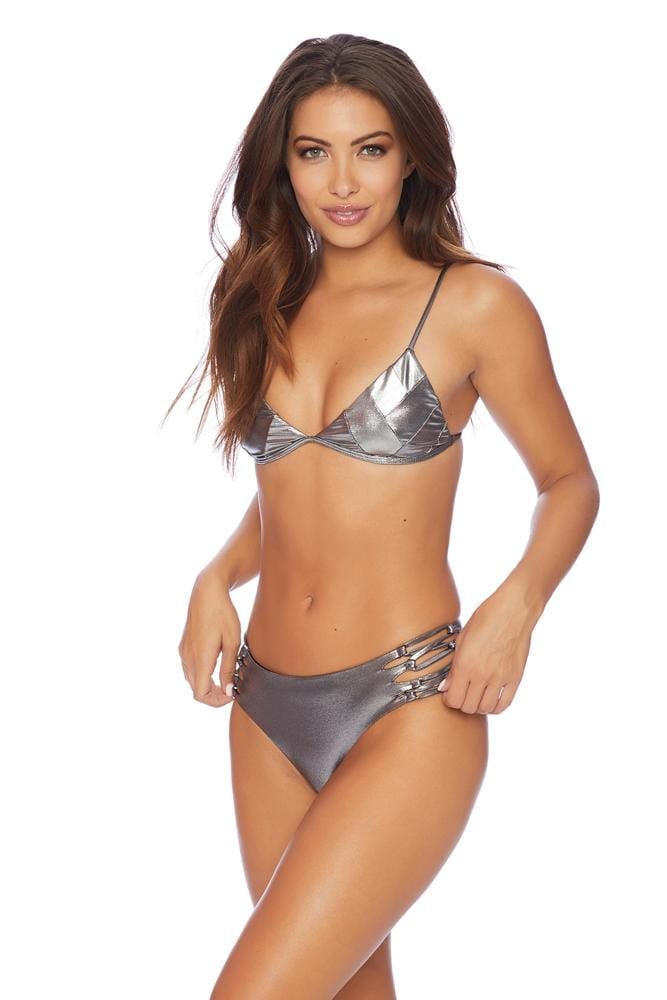 Secretive Triangle Silver Bikini Top
