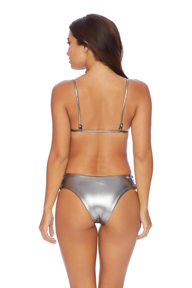 Silver Twist Side Strap Bikini Bottom