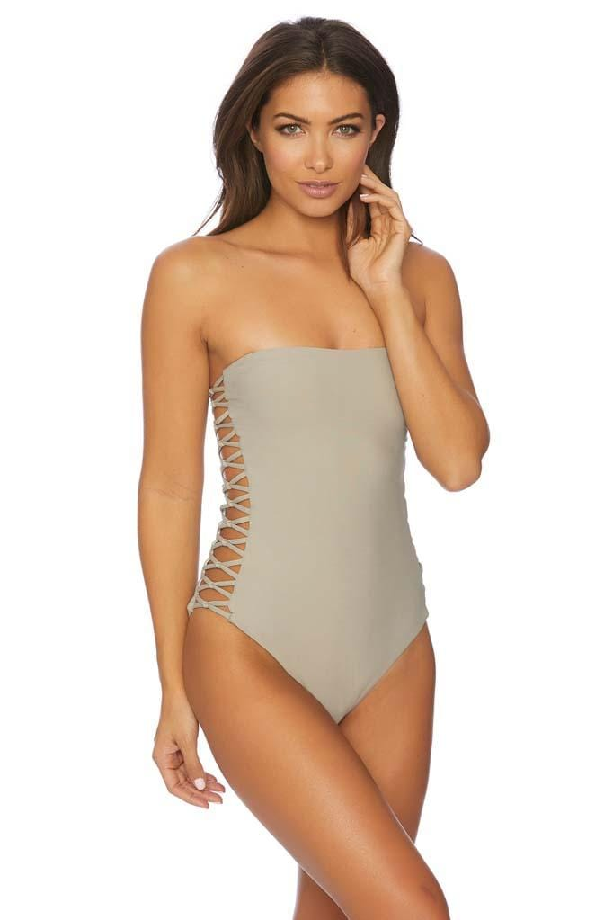 Jaws Drop Lagoon Strappy Side Bandeau One Piece