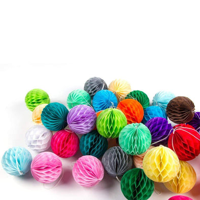 Set de honeycomb balls 8 cm - multicolor