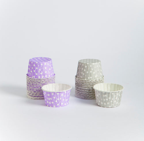 Candy cups - lilas y grises